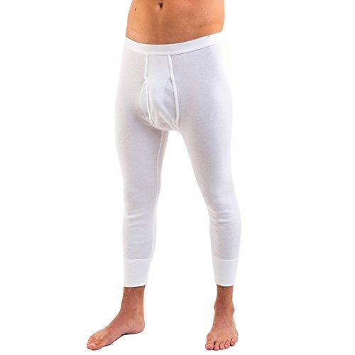 HERMKO 3440 Herren 3/4-lange Unterhose mit Eingriff, wadenlange Unterziehhose aus 100% Baumwolle in Feinripp, Farbe:weiß, Größe:D 4 = EU S -