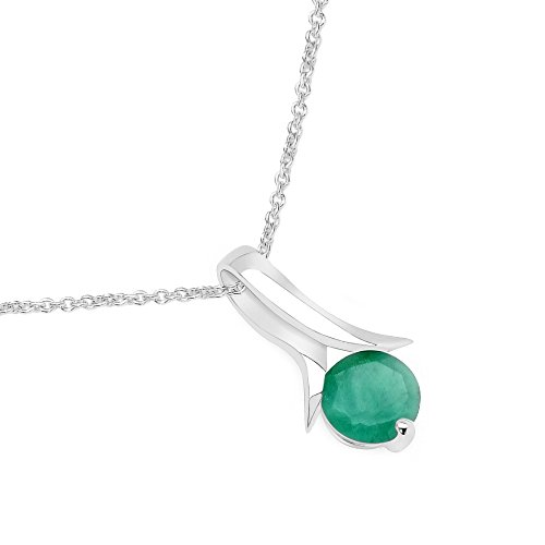 Silvancé - Damenschmuck Collier - 925 Silber, rhodiniert - echter Edelstein: Smaragd - Länge: 45cm - P496E (Natürlichen Edelstein-schmuck)