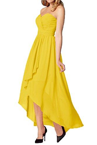 La_mia Braut Elegant Chiffon Herzausschnitt Hi-lo A-linie Abendkleider Partykleider Abschlussballkleider Lang Gelb