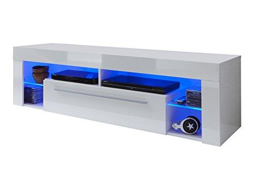 trendteam SC85001 TV Möbel Lowboard, BxHxT 153 x 44 x 44 cm, Weiss Hochglanz
