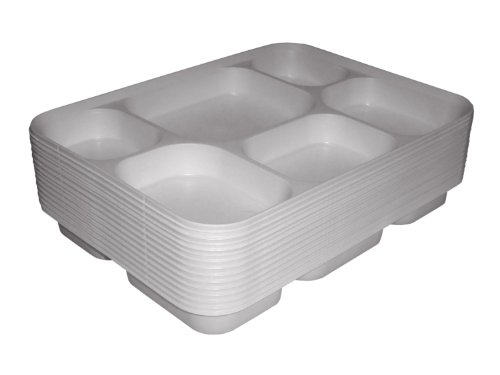 Thali Outlet - 100 x Punjabi 6 Section White Disposable Thali Food Trays Plates For Indian Events Birthdays Weddings Parties All Occasions by Thali Outlet Leeds