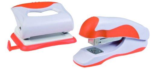 Idena 300829 - Locher und Heftgerät im Set, orange / weiß (Set Locher)