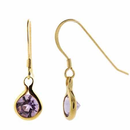 18K Gold over Sterling Silver Amethyst Dangle Earrings