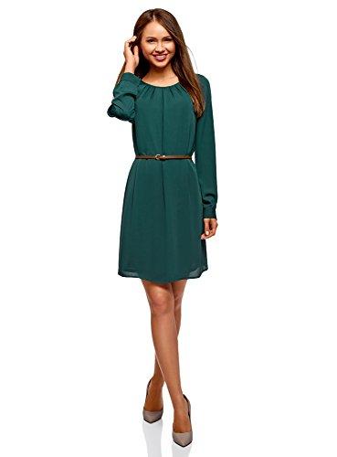 oodji Ultra Damen Kleid aus Fließendem Stoff mit Gürtel, Grün, DE 32 / EU 34 / ()