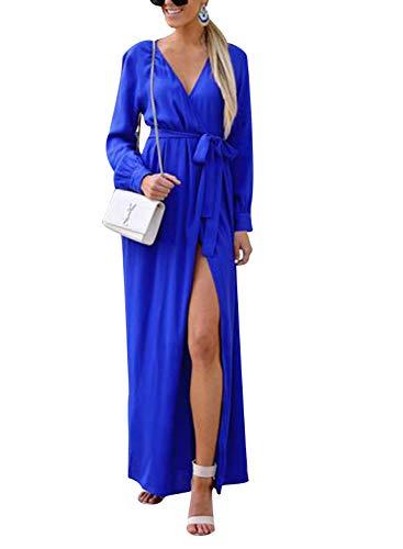 WOZNLOYE Donna Rotondo Collo Vestiti a Manica Lunga Moda Spaccatura Frontale Irregolare Abito Elegant Abiti da Partito Casual Lunga Vestito con Cintura (S, 100027 Blu)