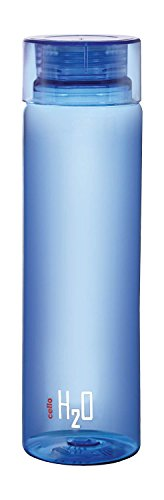 Cello H2O Unbreakable Plastic Bottle, 1 Litre, Blue