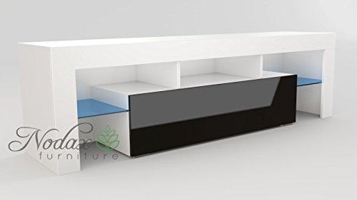 Blanc & Noir Meuble TV moderne 160 cm Unité (Corps Blanc mat/Noir brillant porte)