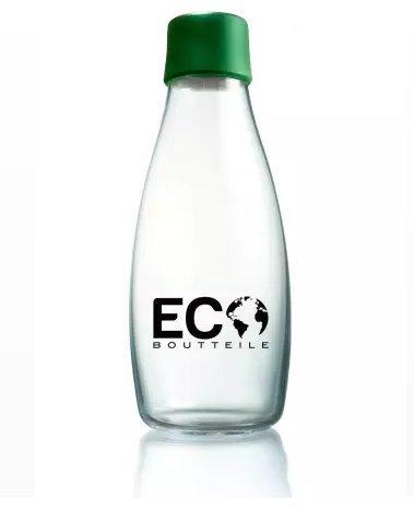 ECOBoutteile Glas-Trinkflasche bruchfeste Trinkflasche glas 532ml, BPA-frei, Made in EU! Super für Smoothie, Trinkflasche-Büro beim Yoga oder zu Hause geeignet, einfach besser trinken!