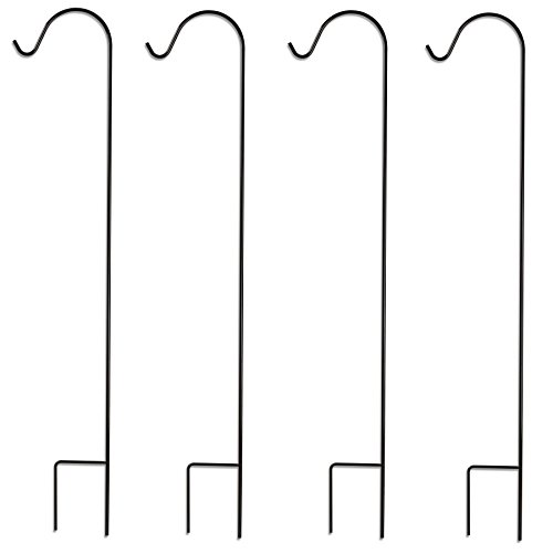 Graybunny Gb-6814 Shepherd Hook, 1.22 M, Black 4-pack, 1 Cm Thick Super Strong, Rust Resistant Premium Metal Hook, For Use At Weddings, Hanging Plant Baskets, Lanterns, Bird Feeders & More