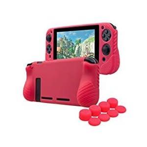 YoRHa HANDGRIFF Studded Kein Geruch Silikon Hülle Abdeckungs Haut Kasten für Nintendo Switch x 1 ( rot) Mit Joy-Con…