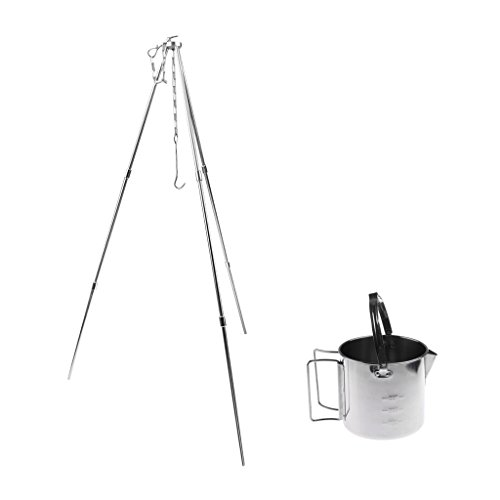 Homyl Portable 12cm Stainless Steel Hanging Pot Outdoor Camping Picnic Cookware with Adjustable Three Leg Tripod Hanging Pot Hanger
