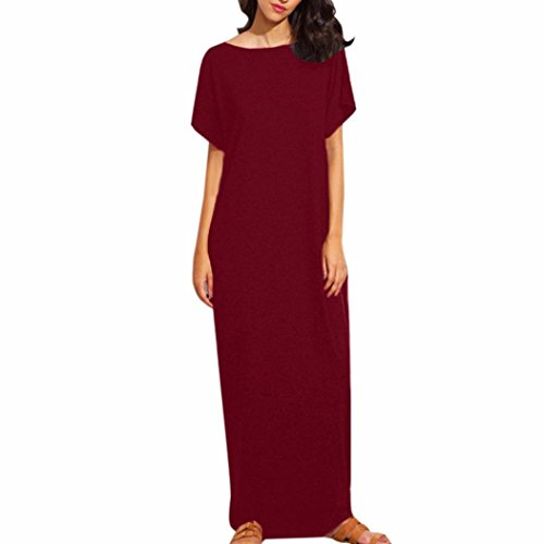 Kleid damen Kolylong® Frauen Elegant kurze Ärmel Kleid lange Herbst Vintage kleid Party Kleid Loose Strand Maxikleid Abendkleid Cocktailkleid Abendmode (M, Rot) (Bodenlangen Kleid Trompete)