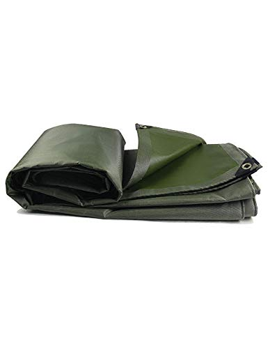 DLewiee Tarps 6 x 8 Fuß Leinwand Tarp wasserdicht Poly Tarp 5 Mil Dicke 8 x 8 Weave Heavy Duty Plane für Camping Holz Boot LKW Auto Dach und UV beständig Armee grün (Size : 4m*3m) -