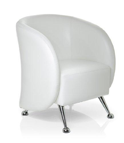 hjh OFFICE 713210 Lounge-Sessel ST. LUCIA Kunstleder Weiß 1-Sitzer moderner Sessel Clubsessel, Cocktailsessel, Wartebereich, Büro - Lounge-sessel Home