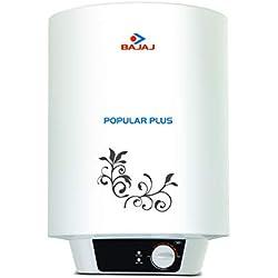 Bajaj Popular Plus Storage 10-Litre Vertical Water Heater, White, 3 Star
