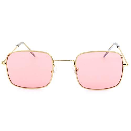 HJL Kleine quadratische Sonnenbrille, Flache transparente Sonnenbrille mit Metallrahmen und Federscharnieren, Sonnenbrille für Männer Frauen Aviator Polarisierter Metallspiegel UV 400 Linsenschutz,G