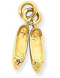 14ct 3-D - colgante de zapatilla de Ballet Medidas 20,3 x 5,4 mm - JewelryWeb