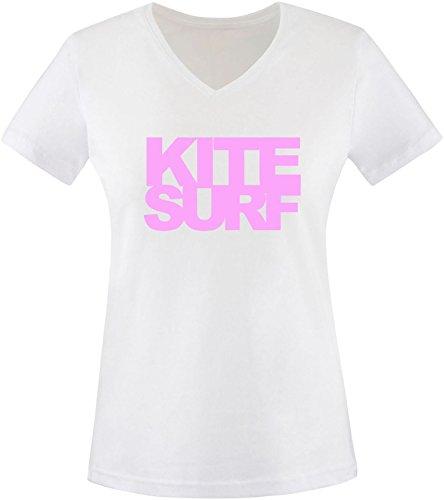 EZYshirt® Kitesurf Damen V-Neck T-Shirt Weiss/Rosa