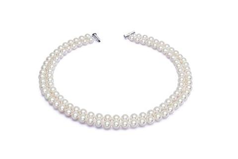 AAA 7,5–8mm Blanc perle de culture Collier 2rangées 17dans 18en