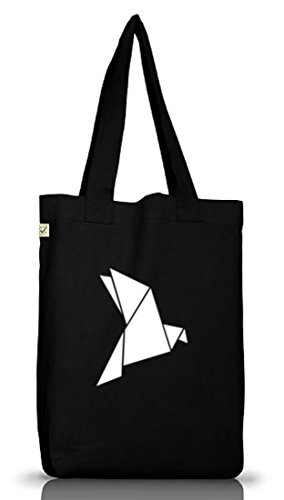 Shirtstreet24, Origami Vogel, Tier Natur Jutebeutel Stoff Tasche Earth Positive (ONE SIZE) Black