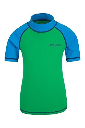 Mountain Warehouse Kurzarm Badeshirt für Kinder - LSF50+, Schwimmshirt, Flache Nähte, Rash Guard für Jungen & Mädchen - Für Schwimmen & unter Einem Neoprenanzug Grün 98 (2-3 Jahre)
