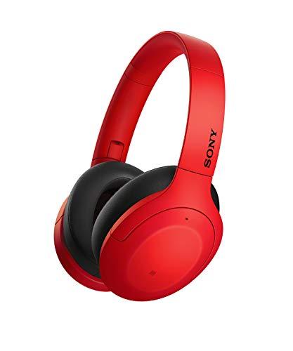 Sony WH-H910N - Auriculares inalámbricos (Bluetooth, Cancelación de Ruido, LDAC, hasta 35h de batería, Hi-Res Audio, h.Ear on, Sonido adaptativo, tecnología de Sensor de Ruido Dual, DSEE HX) Rojo