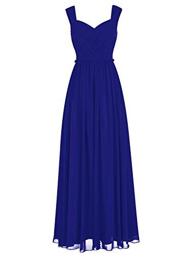 Bbonlinedress Robe de cérémonie Robe de demoiselle d'honneur mousseline longueur ras du sol Bleu Saphir