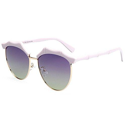 RLJJSH Sonnenbrille Bambus Spiegel Bein Persönlichkeit semi-Infinite polarisierte Sonnenbrille Damen Herren Retro Marke Sonnenbrille Sonnenbrille (Farbe : Lila)