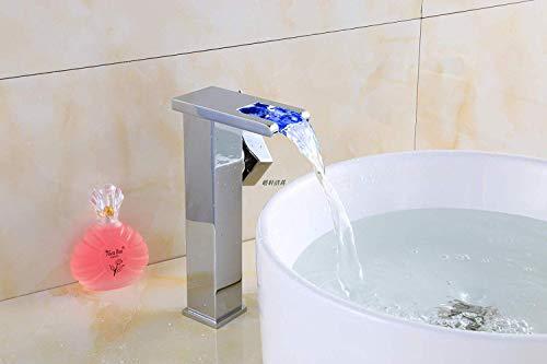 SEBAS Home Wasserhähne? All-Copper European Waterfall Wasserhahn Becken warmes und kaltes quadratisches Licht Badezimmer Waschbecken Waschbecken Tippen Sie auf