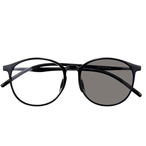 Reading glasses Schwarze runde Lesebrille, intelligenter Farbwechsel im Freien, UV-Schutz, männliche und weibliche Sonnenbrille Progressive Multi-Fokus nah und fern, kann Autofahren, Gehen (+3.0)