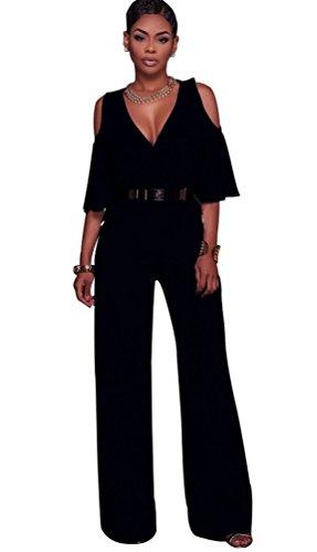 Dooxi Donna Scollo a V Maniche Lunghe Formale Partito Di Jumpsuit Eleganti  Puro Colore Tuta con Lungo Pantaloni Nero M ... fafb00c0302