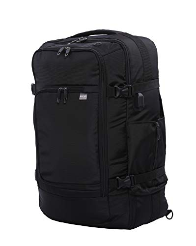Eono Essentials Anti-Theft 3 in 1 Zaino da viaggio omologato Zaino da viaggio Borsa Zaino Borsa da viaggio con porta USB, Adatto per laptop da 15,6 pollici, 55 cm, Nero
