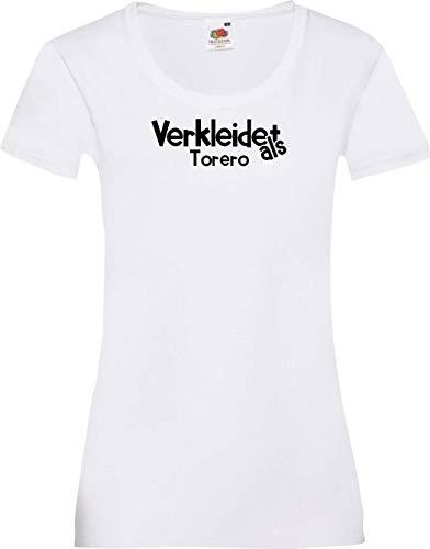 Lady-Shirt Verkleidet als Torero Karneval Fasching Kostüm Verkleidung, Weiss, L