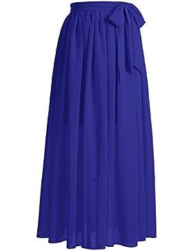 Dresstells®Falda Larga Vintage Retro Gasa Mujer Fiesta Plisada Cinturón Lazo