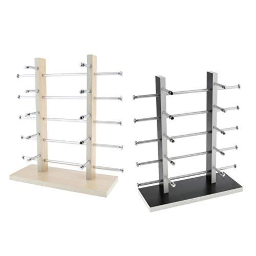 FLAMEER 2x Holz Ständer Halterung für das Organisieren, Halten und Präsentieren von Sonnenbrillen, Brillen und anderen Gläsern