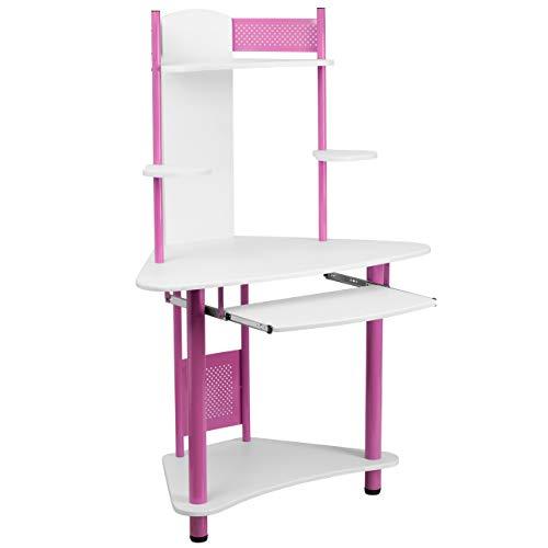 Flash Möbel blau Ecke Computer-Schreibtisch mit Stall pink/weiß (Mit Schreibtisch Für Home-office Hutch)