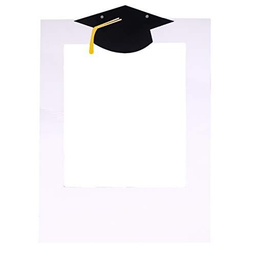 Amosfun Bachelor Cap Fotorahmen DIY Papier Foto Requisiten Selfie Requisiten für Abschlussfeier Graduation Party Dekoration Foto Zeichen (wie gezeigt)