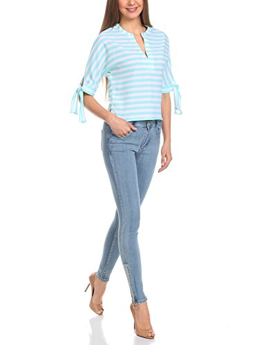 oodji Collection Donna Blusa a Righe Stile marinaro Turchese (6512S)