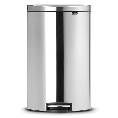 FlatBack+ Treteimer 40 L Silent mit Kunststoffeinsatz / Matt Steel Fingerprint Proof 40-liter Touch Bin