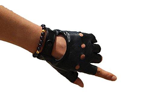 Preisvergleich Produktbild HOMEE Männer und Frauen fahren halbe Finger einzelne Lederhandschuhe Leder-Lokomotive Auto fahren halbe kurze Abschnitt der Handschuhe, Schwarz, X-Large