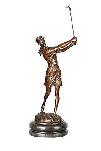 Toperkin Sport Metal Home Deko Female Golfer Artware Brass Statue Sculpture TPE-750 (Golfer Bronze Garten-statue)