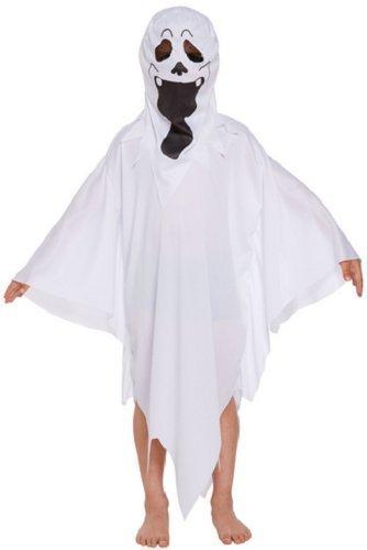 Jungen Mädchen Kinder Ghost Halloween Horror Büchertag Kostüm Kleid Outfit 4-12 jahre - Weiß, Weiß, EU (Für Jungen Kostüme Ghost)