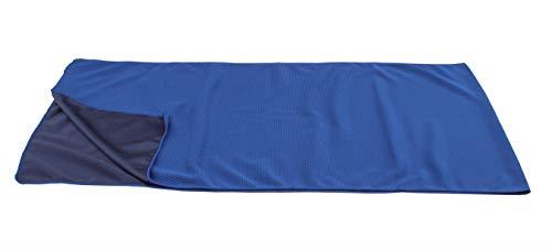 Kühlendes Handtuch für sofortige Abkühlung - Ideal als Kühlung für Reisen, Klettern, Fußball, Tennis - Auch benutzbar als Schal, Kopftuch, Bandana - 120x31 cm in Blau/Schwarz aus 100% Polyester