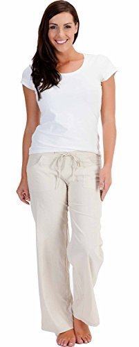 LADIES WOMENS LINEN CASUAL TROUSERS WITH POCKETS (10, Stone)