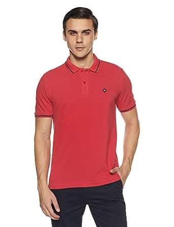 Van Heusen Men's Solid Regular Fit Polo (VSKPWRGFV09218_Cardinal Red_S)