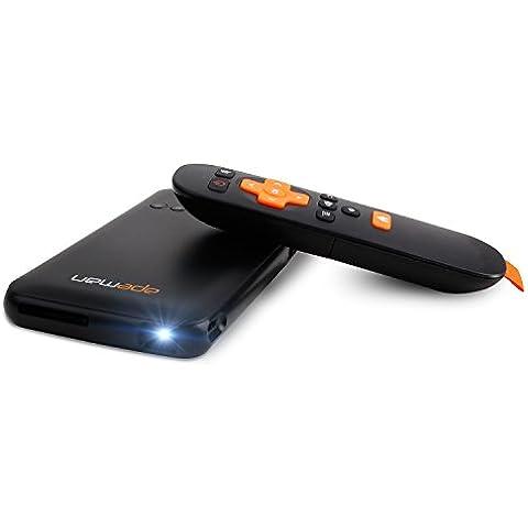 APEMAN Pico LED Proyector DLP Sistema Android M9 Cine En Casa Proyector Portable de Wi-Fi Inteligente con la Batería Incorporada (Negro)