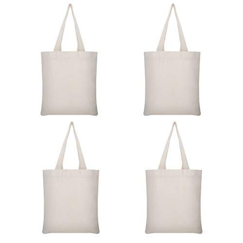TRUMNO Wiederverwendbare Produkttaschen, waschbar, Segeltuch, Einkaufstasche für Lebensmitteleinkauf, DIY, Promotionen, 40 cm, 4 Stück (Personalisierte Bulk Tragetaschen)