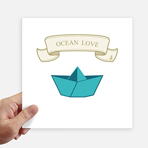DIYthinker Papier Falten Boot Ozean-Liebe Meer Segeln Quadrataufkleber 20Cm Wand Koffer Laptop Motobike Aufkleber 4Pcs 20cm x 20cm Mehrfarbig