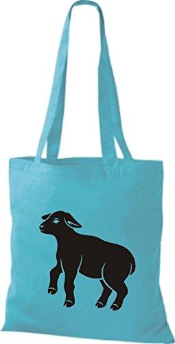 Shirtstown Pochette en tissu Animaux Moutons, mouton Bleu - sky