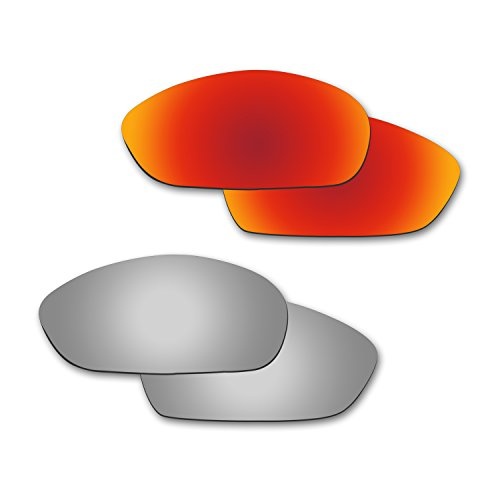 Fiskr Anti-Saltwater Polarisierte Ersatz Gläser für Oakley Whisker Sonnenbrille 2Paar Verpackt, Fire Red & Metallic Silver